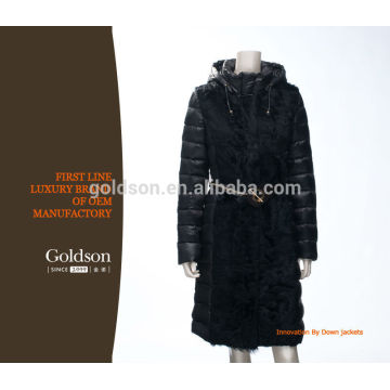 Fur Down Jacket Goose Down Feather European Style With Leather Belt