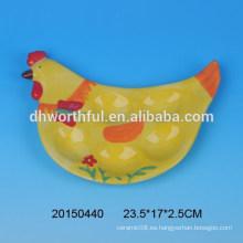 Cerámica placa de huevo pollo titular