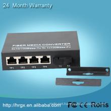 1 SFP fiber port + 4 RJ45 port 10/100Mbps 1 fiber 4 ethernet single mode fiber optic utp media converter