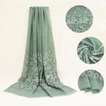 Venda quente muçulmano hijab cachecol moda malásia árabe hijab algodão e linho rendas bordado hijab