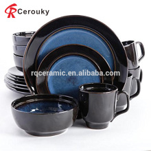 Mano de pintura negro y azul de cerámica nueva cena china de huesos conjunto