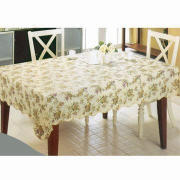 Table Cloth with Non-woven/Flannel Back, 0.08 to 0.22mm Thickness, Customized Sizes Accepted