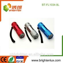 China Factory Supply Cheap Colorful Aluminium Material 9 Led torche Light Emergency Mini torche pour enfant pour cadeau
