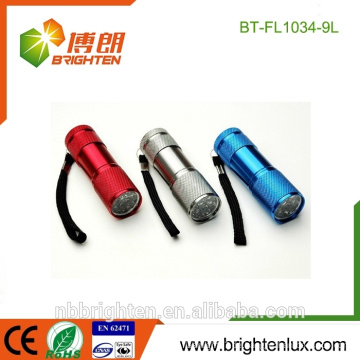 China-Fabrik-Versorgungsmaterial-preiswertes buntes Aluminiummaterial 9 geführte Fackel-helle Notfallminikinderfackel für Geschenk