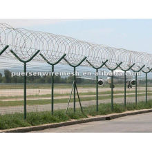 security perimeter Airport Fence with razor wire