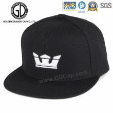 Black Cotton Twill Comfortable Snapback Cap with Crown 3D Embroidery