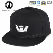 Tampão confortável do Snapback da sarja preta do algodão com o bordado da coroa 3D