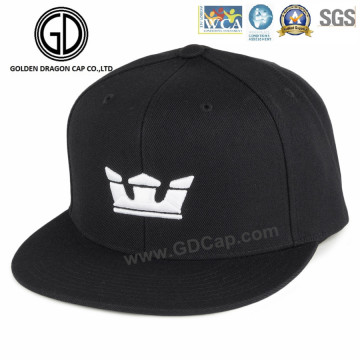 Gorra snapback cómoda de sarga de algodón negro con bordado de corona 3D