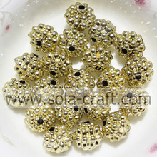 Wholesale Newest Plastic Electric Plating Berry Beads Gold Color