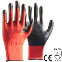 NMSAFETY 13gauge vermelho poliéster preto revestido nirile em luvas de palma