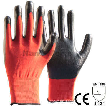 NMSAFETY 13gauge red polyester coated black nirile on palm gloves