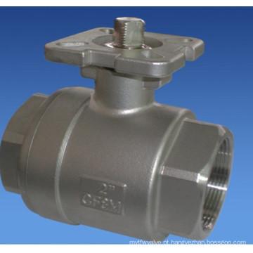 Válvula de esfera de duas partes de aço inoxidável com plataforma alta (válvula de esfera 2PC)