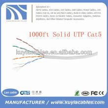 1000FT 4pairs Cat5 cable de cobre sólido de la red de UTP