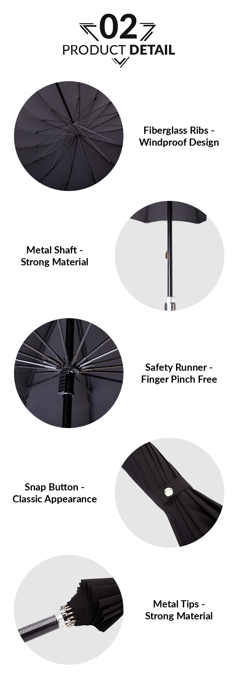 Lightweight 60cm 16 Ribs Manual Open Straight Umbrella