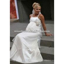 Spaghetti Straps Empire Vestido de noiva grávida
