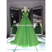 Newest deep v-neck green color elegant cocktail evening dresses pattern/factory direct real party evening dress