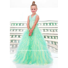 Lovely cuentas de cuello en V rizado organza por encargo desfile vestidos de flores chica vestido CWFaf3356