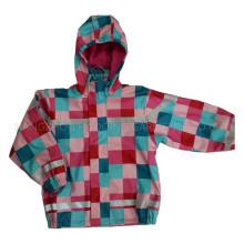 Bunte Hooded Check PU Jacke / Regenmantel