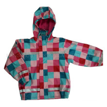 Colourful Hooded Check PU Jacket/Raincoat