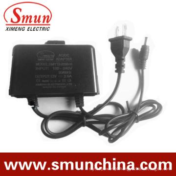 12V2a preto à prova de chuva AC / DC Adapter (SMY-12-2H)