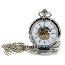 Silver Tone Plain Skeleton Hand Wind Double Hunter Pocket Watch