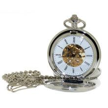 Tom de prata simples esqueleto mão vento duplo caçador relógio de bolso