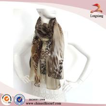 Womens Long Silk Scarf Leopard Printed Chiffon Scarf