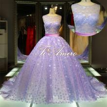 Slight See-through top petits sequins suiveurs violet et blanc robes de mariée / robe de bal