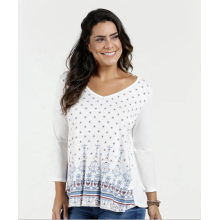 V Neck Three Quarter Sleeve Blouse Tops