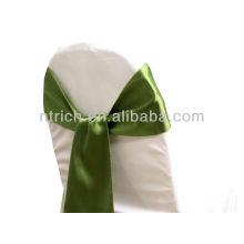 sauce verde, lujo vogue silla del satén Faja Lazo detrás, pajarita, nudo, silla baratos de la boda cubre y fajas para la venta