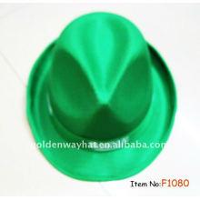 Baratos de moda verde Fedora sombrero promocional sombreros de PP con logotipo personalizado