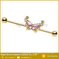 Gold Titanium Plated Surgical Steel Pink Clear Butterfly Cubic Zirconia Ear Barbell