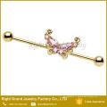 Золото, Титан, Хирургическая Сталь Розовый Бабочка Ясно Кубического Циркония Уха Штангой