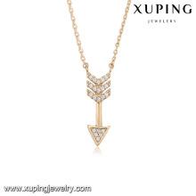 43981 vente chaude fashiong objets uniques collier 18k flèches pendentif diamant blanc en alliage de cuivre collier