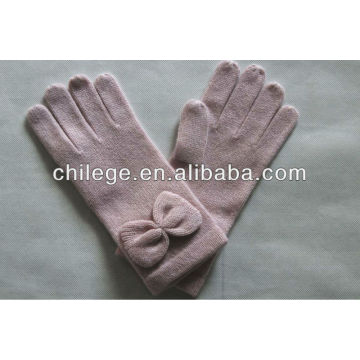 women cashmere knitted gloves with bowknot