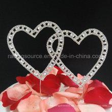 Topper de pastel de bodas con corazones de doble vintage cubierto en cristales de diamante de imitación Decoración de pastel