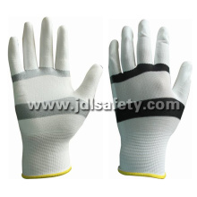 White/Black Nylon Work Glove with PU Palm Coated (PN8114)