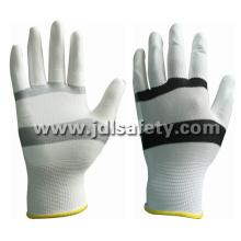 White/Black Nylon Work Glove with PU Palm Coated (PN8114)