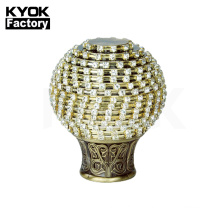 KYOK best sale for Algeria market  Metal Material and Iron Metal Type curtain pipe with curtain rod crystal finial