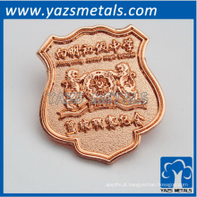 Custom made rosa chapeamento de metal emblemas de metal