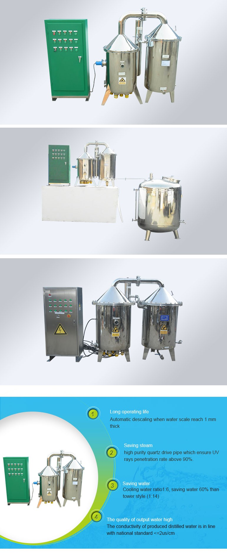 100 l/h Capacity Water Distiller