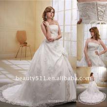 Astergarden moda sin tirantes largo trailing blanco vestido de novia de encaje DressAS023