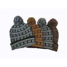 Unisex malha jacquard neve impressão pom pom inverno chapéu morno gorro (hw152)