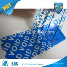 Self adhesive tamper evident plastic material VOID security sticker label