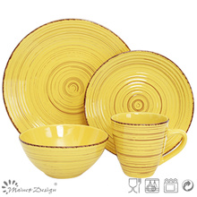16PCS Antiqute Yellow with Brush Ceramic Dinner Set