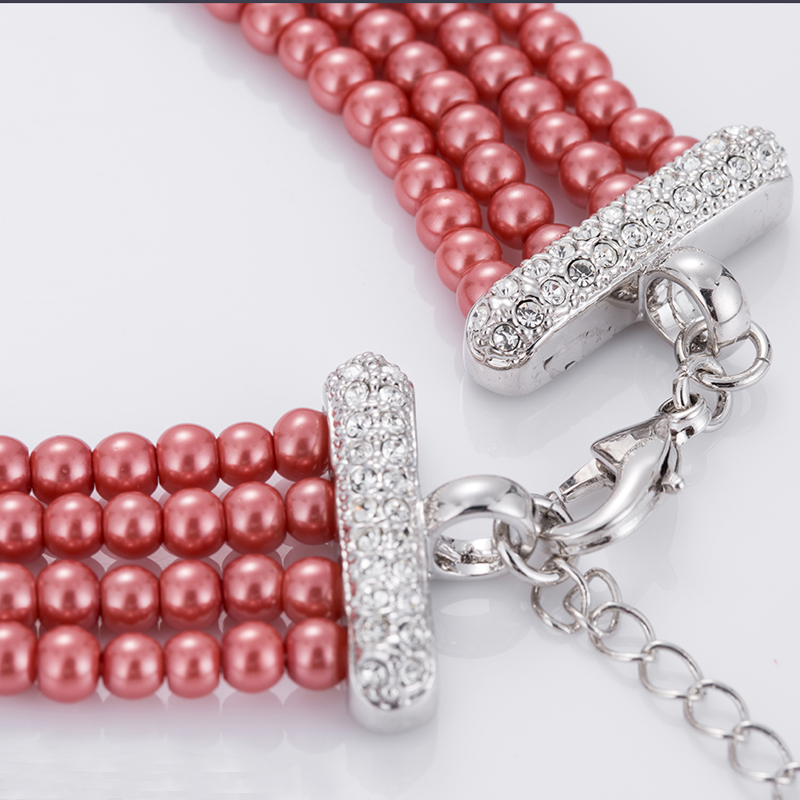 Fashion Multi Layer Red Pearl Necklace