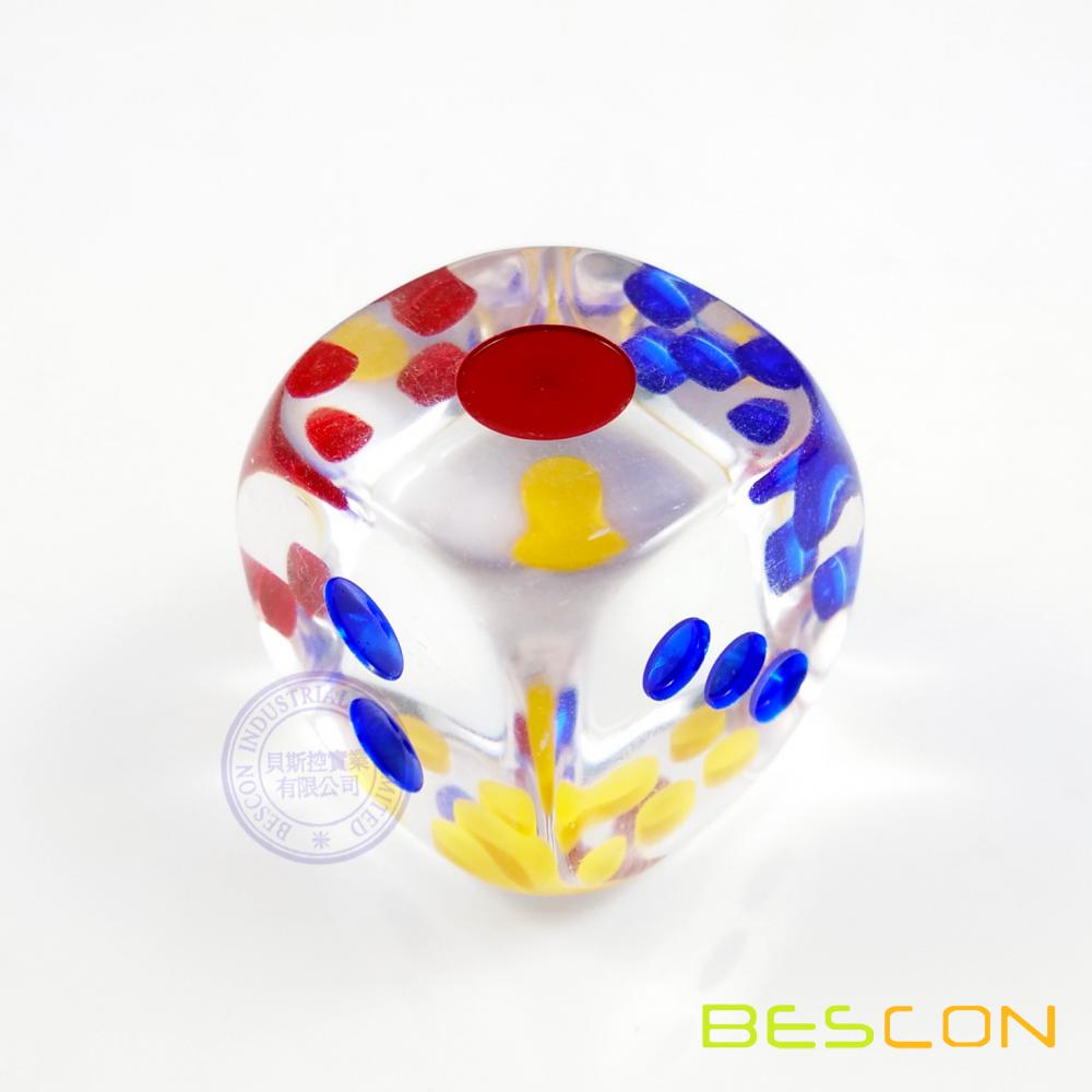 1 Inch Transparent Six Sided Dice With Colored Dots