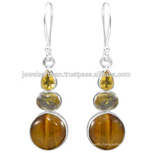 Beautiful Tiger Eye And Multi Gemstone 925 Sterling Silver Earring Jewelry