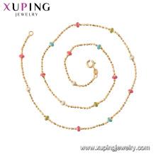 44832 xuping 18k banhado a ouro moda contas coloridas colar de corrente