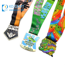 Manufacturers china custom design your own heat transfer neck strap dye sublimation printed medal ribbon lanyard